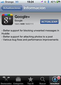 Actualizacion de Google+ para iOS