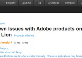 Adobe: problemas conocidos en OS X Lion