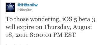 iOS 5 beta 3, con fecha de caducidad