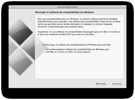 Opción de descargar el software de compatibilidad