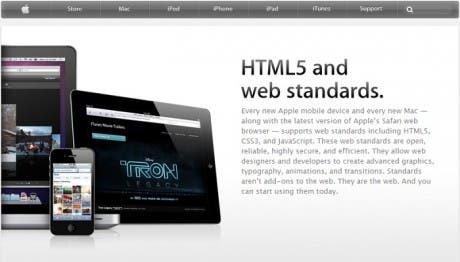 Página de Apple sobre HTML5