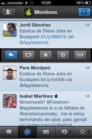 Clic simple en Tweetbot