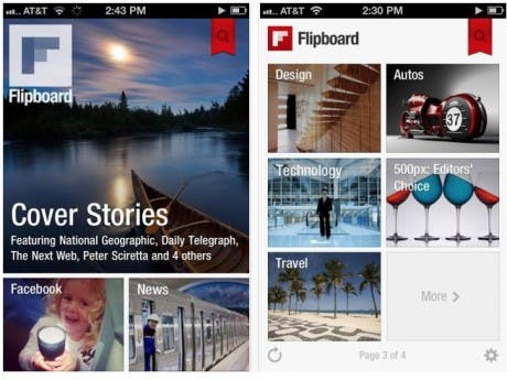 Capturas de pantalla de Flipboard para iPhone