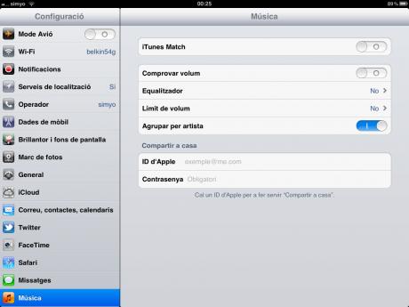 Ajustes iTunes Match