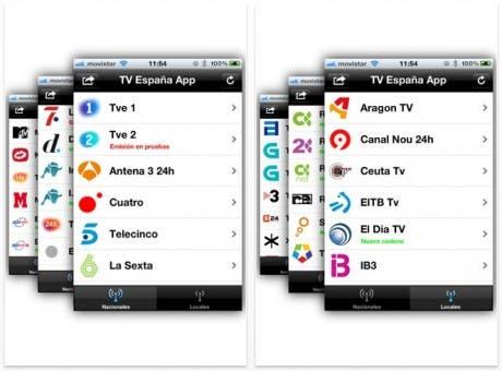 Listado de canales en la aplicación TV España App