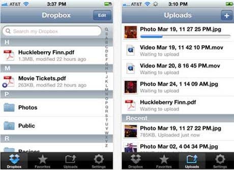 Menú Dropbox