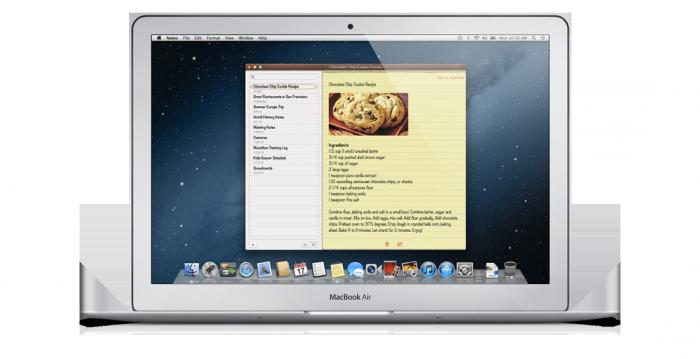 Aplicación notas de OS X 10.8