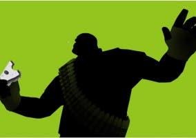 Viñeta de un personaje de Team Fortress como los anuncios de iPod