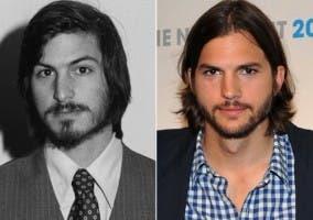 Foto comparativa entre Ashton Kutcher y Steve Jobs
