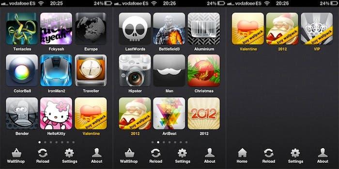 Capturas de pantalla del menú de Wall4phone
