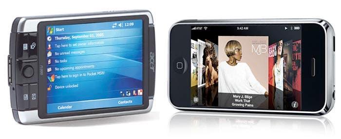 Teléfono Windows Movile vs iPhone