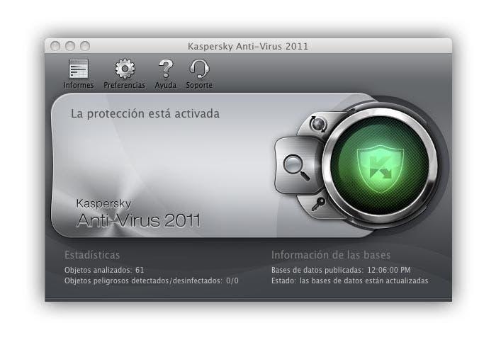 Ventana de la interfaz de Kaspersky Antivirus 2011 para Mac