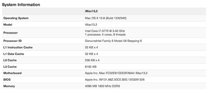 Puntuaciones obtenidas por el iMac