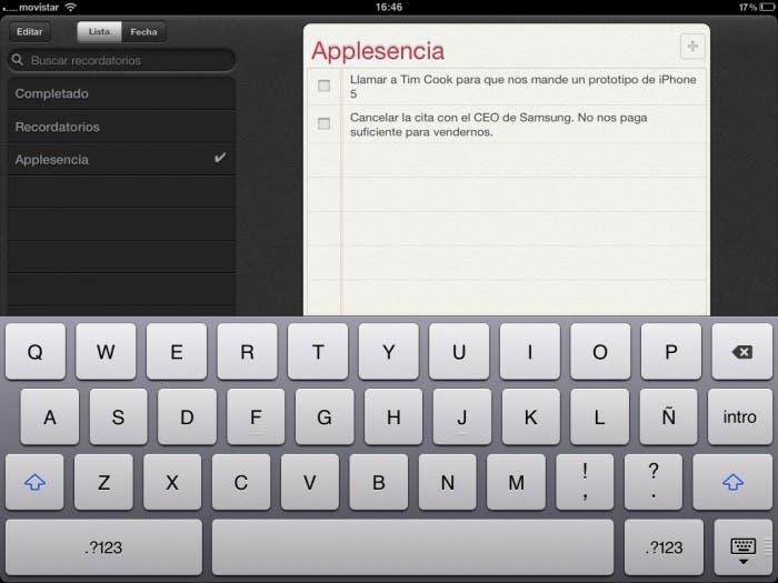 Recordatorios iPad