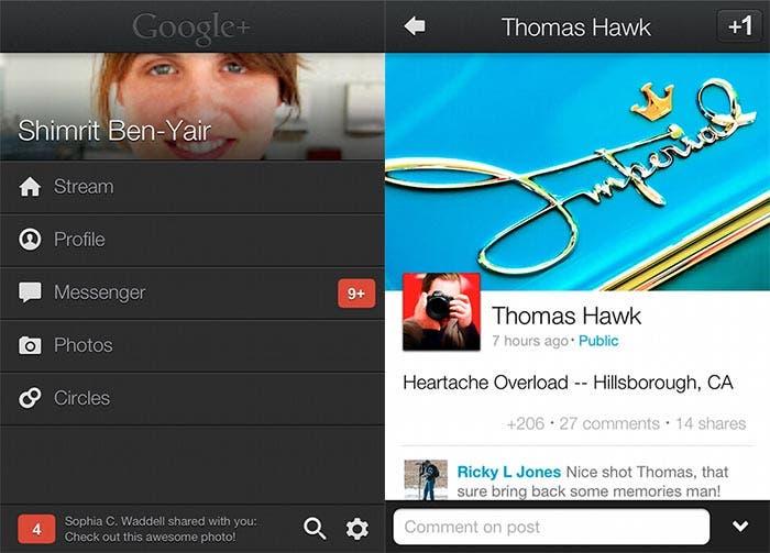 Nueva interfaz de Google+ para iOS