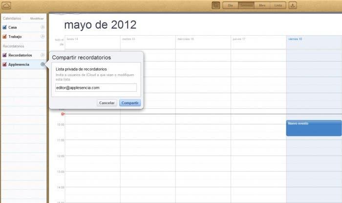 Captura pantalla de iCloud