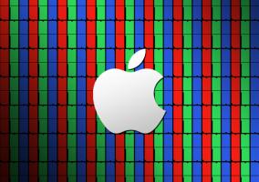 Píxeles que conforman una pantalla junto al logotipo de Apple