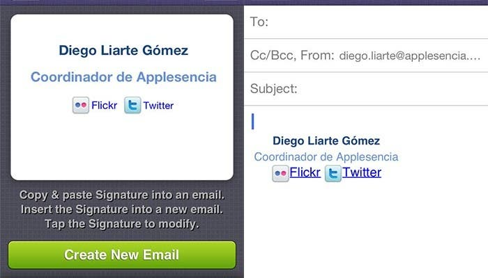 Composición de un correo electrónico en Signatures