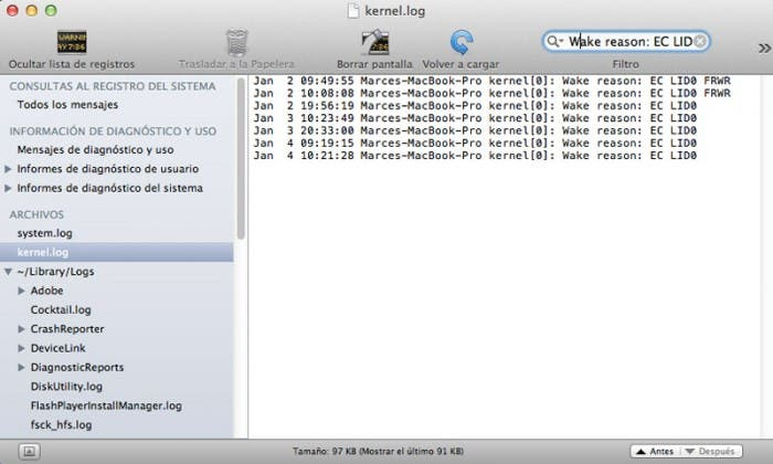Captura consola OS X