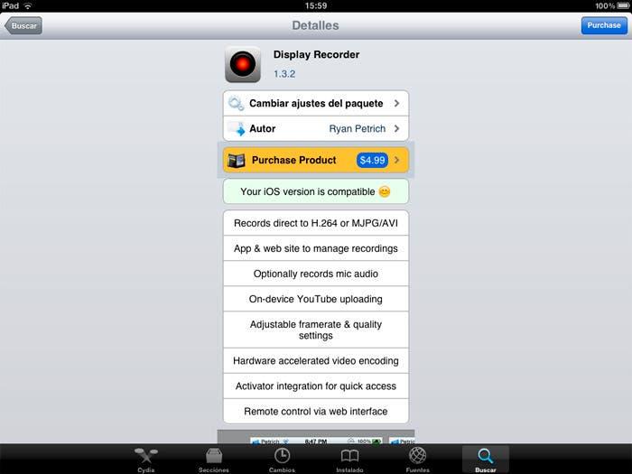 La aplicación en Cydia