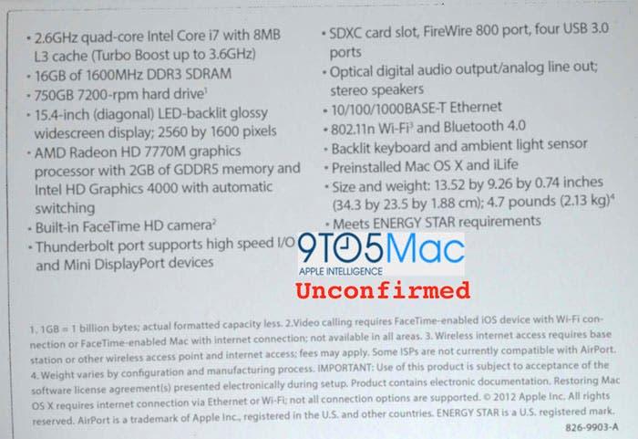 Posibles especificaciones de MacBook Pro