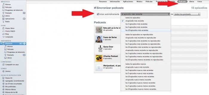 Sincronizar podcast con iTunes
