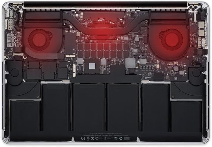 Zonas de mayor calor en el MacBook Pro con pantalla Retina