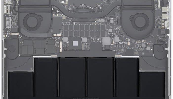 Esquema que muestra la batería del nuevo MacBook Pro