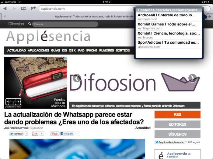 Captura Safari iPad