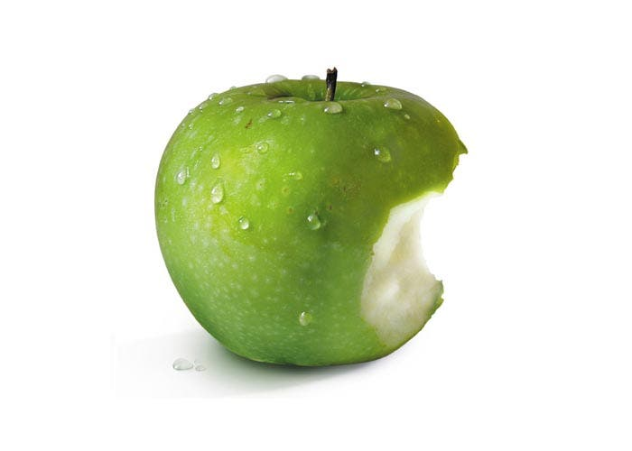 Green apple bite
