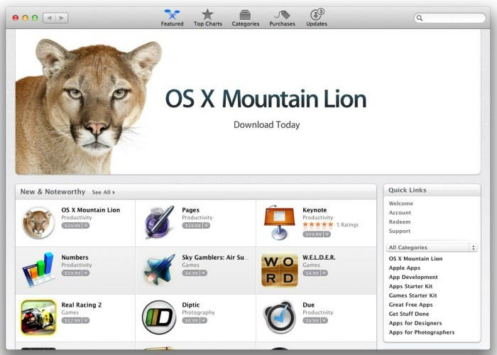 Apple elimina OS X Lion de la Mac App Store para dar paso a Mountain Lion
