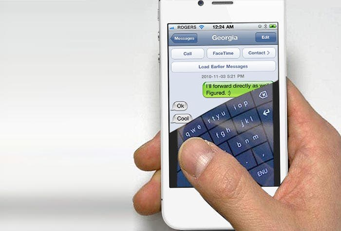 iPhone con teclado curvo