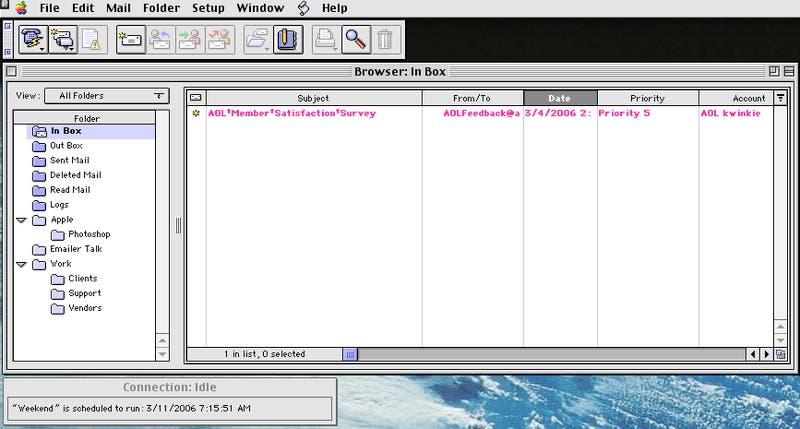 Claris Emailer Lite 1.1, precursor del actual Mail, en Mac OS 8