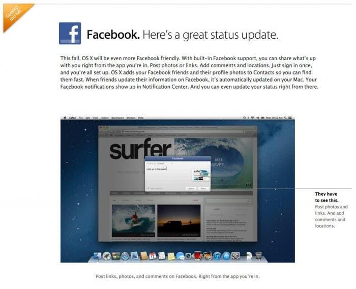 Panel de conexión con Facebook en OS X 10.8.2