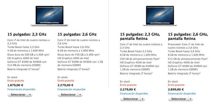 Panel de especificaciones técnicas de los nuevos MacBook Pro