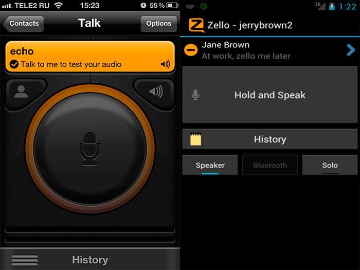 Ventana para hablar con un usuario en Zello
