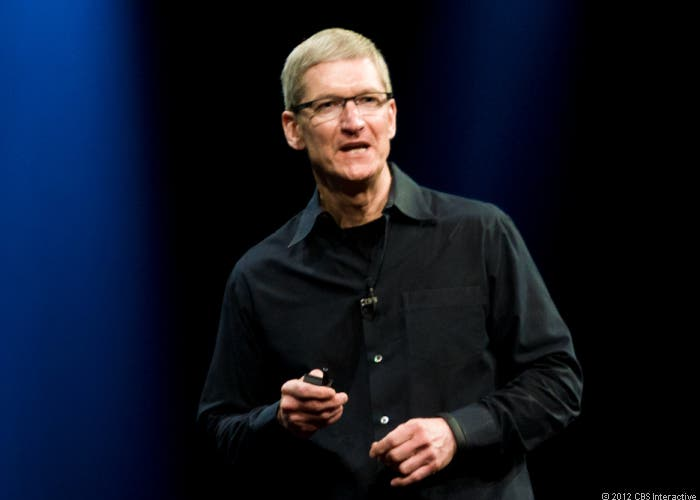 Tim Cook en una presentación de Apple