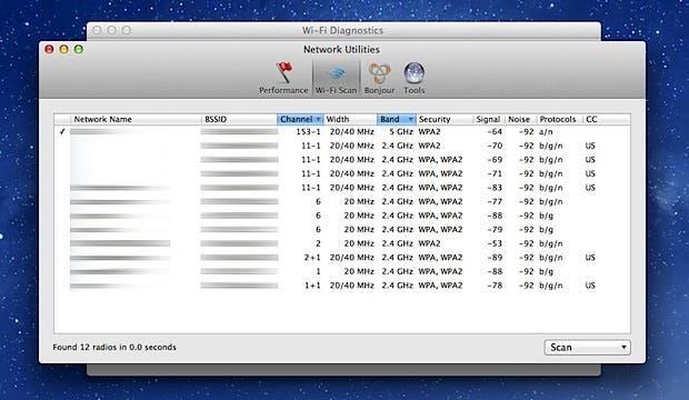 Ventana de Wi-Fi Scan en Mountain Lion
