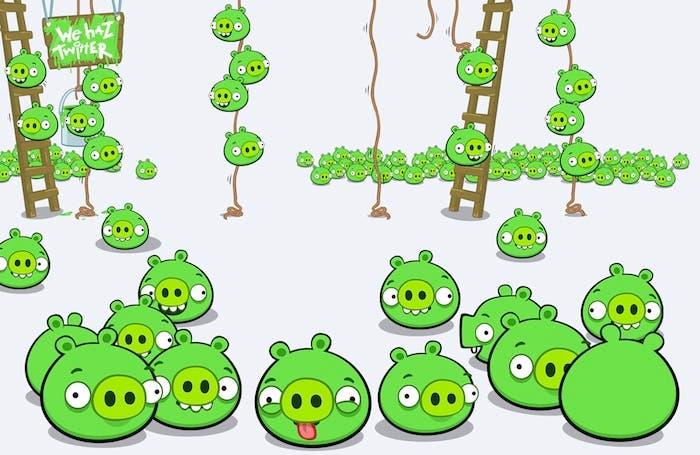 Montones de cerdos verdes y escaleras