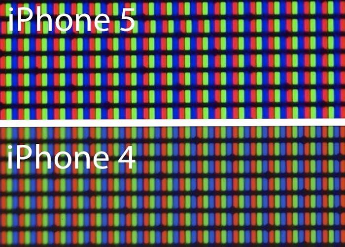 Comparativa Pantallas iPhone 4 y 5