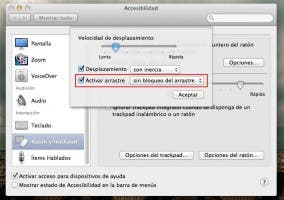 Opciones de Accesibilidad del trackpad