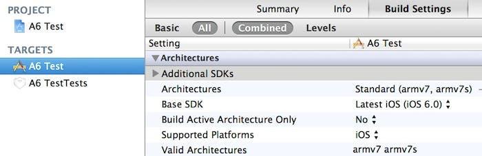 Nueva familia de Apple A6 en Xcode