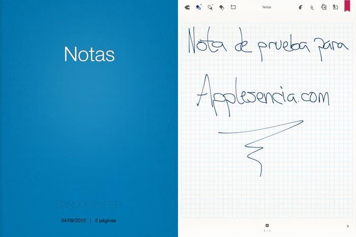 Dos capturas de pantalla sobre el funcionamiento de Bamboo Paper en el iPad