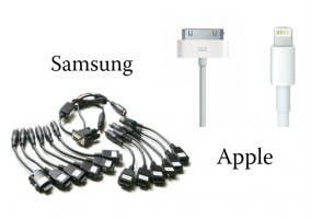 Conectores de Samsung y Apple en diez años