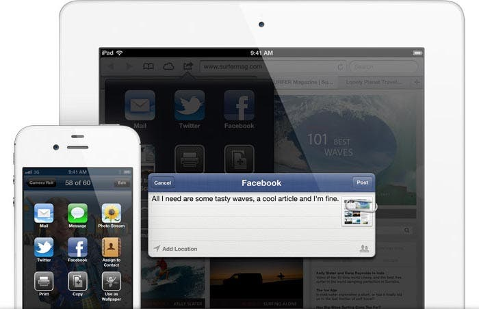 iPhone y iPad compartiendo en Facebook