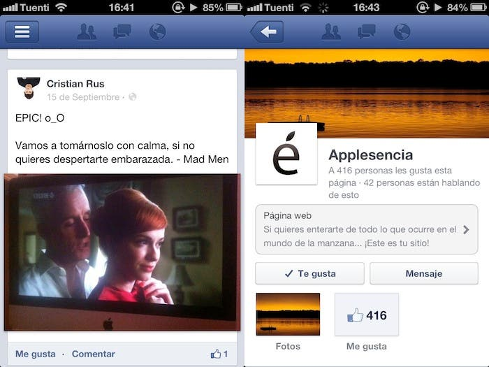 Captura de pantalla de Facebook para iPhone