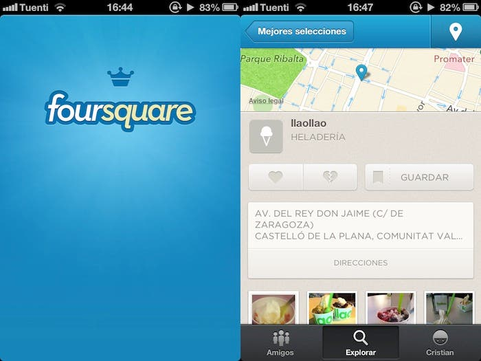 Captura de pantalla de Foursquare para iPhone