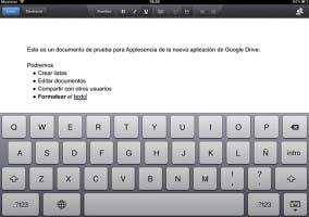 Captura en el iPad de la nueva actualización de Google Drive para iOS