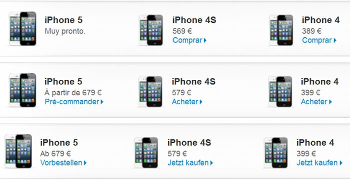 Comparativa del precio de los distintos modelos iPhone en España, Francia y Alemania
