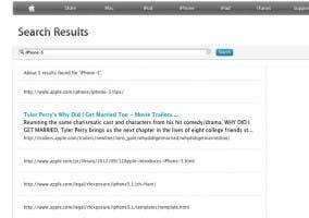 """Resultados de la búsqueda de """"iPhone 5"""" en la web de Apple"""